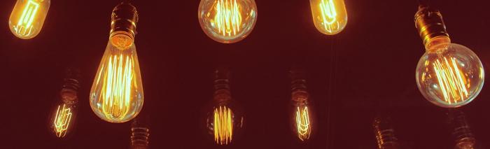 Vintage lightbulbs illustrating business idea concept